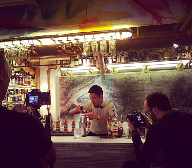 art-basel-hong-kong-biblo-asian-bartender-mxing-drinks-bar-camerman