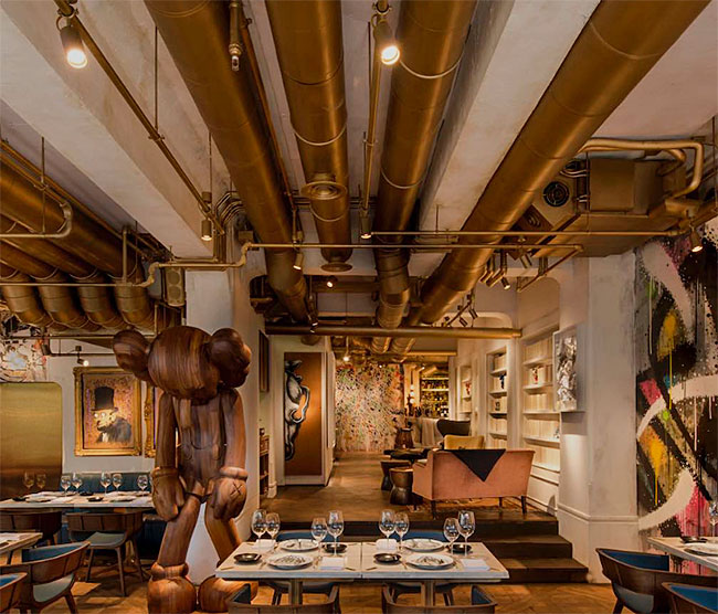 art-basel-hong-kong-biblo-gold-tube-ceiling-table-wooden-mouse-sculpture