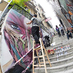 art-basel-hong-kong-mural-wall-man-on-ladder-painting